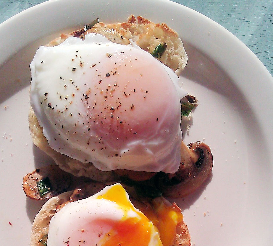 Poached Eggs over Mushrooms on An English Muffin Bed