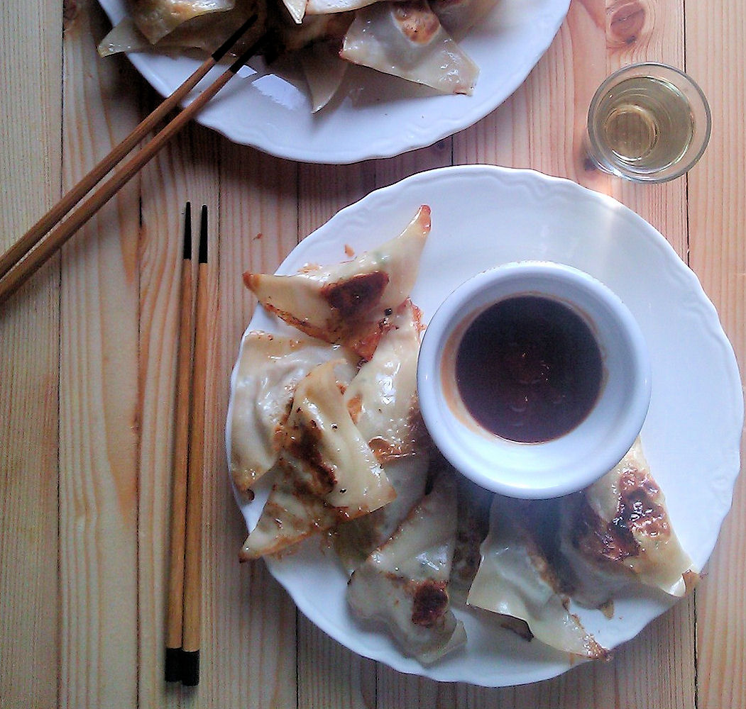 Potstickers with Soy and Wine Dipping Sauce